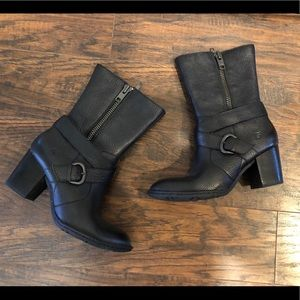 Born Black Leather Buckle Boots - Size 8
